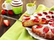 Рецепта Пухкав вкусен сладкиш с ягоди (кекс с ягоди)
